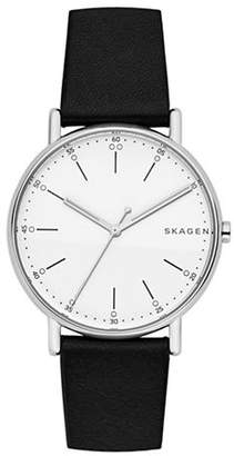 Skagen Analog Signature Dot Stainless Steel Leather Strap Watch