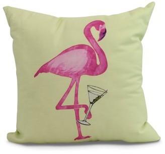Simply Daisy, 20 x 20 inch, Single Flamingo Animal Print Pillow, Light Green