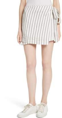 Theory Tie Wrap Stripe Miniskirt
