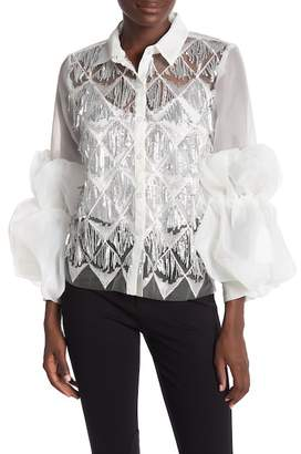 CQ by CQ Sequined Front Puffy Long Sleeve Button Down Organza Blouse