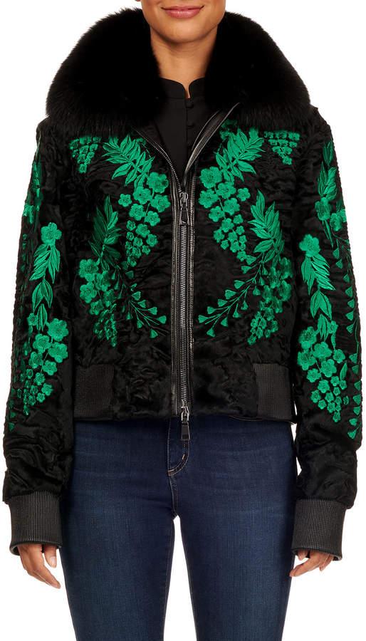 Maurizio Braschi Floral-Embroidered Swakara Zip-Front Bomber Jacket