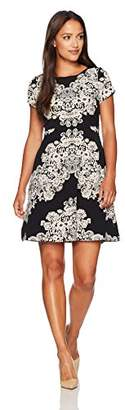 Adrianna Papell Women's Petite Lace Printed Fit and Flare