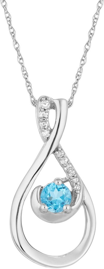 10k White Gold Swiss Blue Topaz & Diamond Accent Teardrop Pendant Necklace