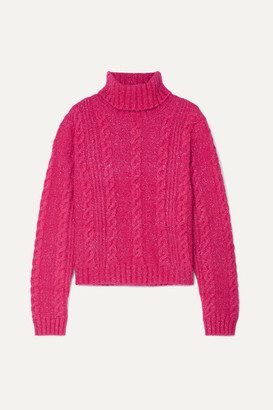 Versace Cropped Metallic Cable-knit Turtleneck Sweater - Pink