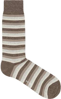 Reiss ROBERTS STRIPED SOCKS Mushroom
