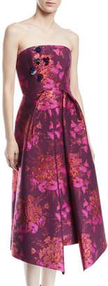 DELPOZO Strapless Metallic-Jacquard Cocktail Dress w/ Embellishments