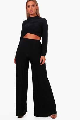 boohoo Plus Slinky Crop + Wide Leg Trouser Co-ord