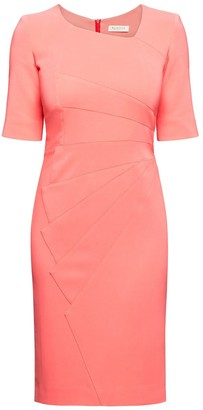 Rumour London Amelie Coral Fitted Knee Length Dress With Asymmetrical Neckline