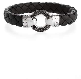 John Hardy Classic Chain Ring Clasp Leather Bracelet