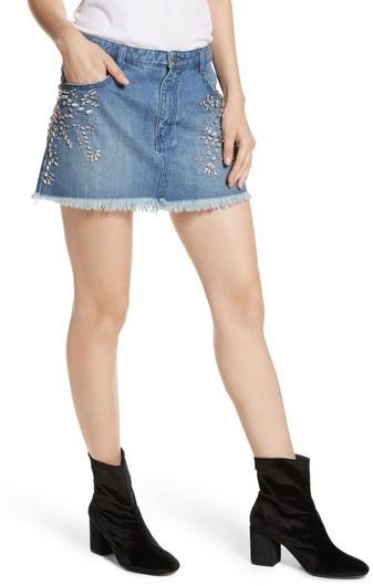 Women's Free People Shine Bright Shine Far Cutoff Denim Miniskirt