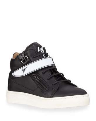 Giuseppe Zanotti London Leather Grip-Strap High-Top Sneakers, Baby/Toddler/Kids