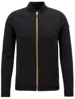 BOSS Hugo Bomber-style knitted sweater contrast zipper M Black