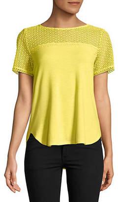Isaac Mizrahi IMNYC Short Sleeve Jersey and Lace Mix Tee