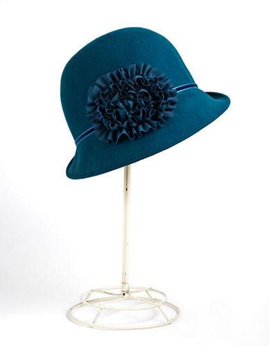 AUGUST HATS Flower Detail Wool Felt Cloche Hat