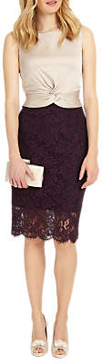 Phase Eight Coralie Lace Dress, Champagne/Dark Garnet