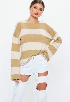 Missguided Khaki Striped Drop Shoulder T-shirt
