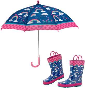 Stephen Joseph Rainbow Rain Boots & Umbrella Set