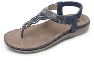Meigar Women Sandals Clip Toe Casual Summer Beach Elastic Shoes Flip Flops