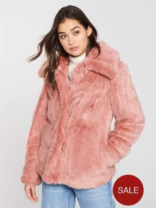 Very Short Faux Fur Jacket - Pink