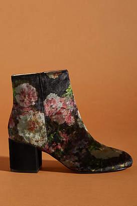 Anthropologie Printed Velvet Ankle Boots