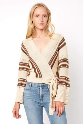 Neely Kimono Sleeve Stripe Wrap Sweater