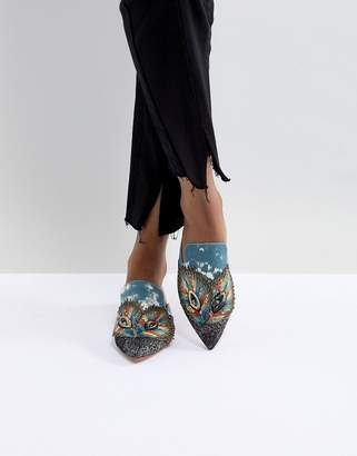 Kurt Geiger London Peacock Feather Embellished Flat Mule