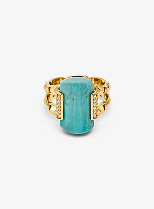 Michael Kors 14k Gold-Plated Sterling Silver Turquoise Cocktail Ring
