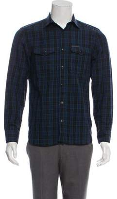 Burberry Wool-Blend Plaid Button-Up Shirt black Wool-Blend Plaid Button-Up Shirt