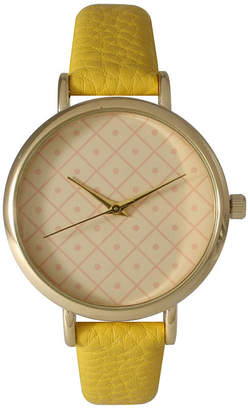 OLIVIA PRATT Olivia Pratt Womens Checkered Dial Yellow Petite Leather Watch 14543