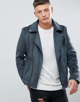 Asos DESIGN faux suede biker jacket in gray