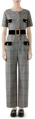 Gucci Velvet Trim Prince of Wales Wool Jumpsuit