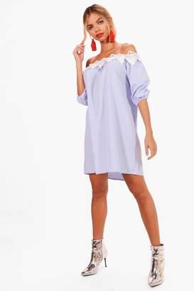 boohoo Stripe Off Shoulder Lace Dress