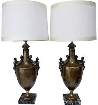 One Kings Lane Vintage Bronze Urn Lamps - Set of 2 - Retro Gallery