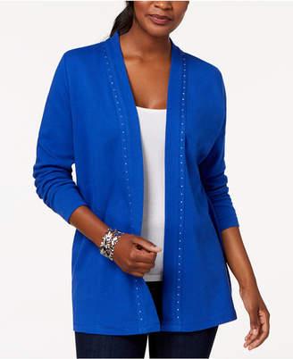 Karen Scott Petite Studded Cotton Cardigan, Created for Macy's
