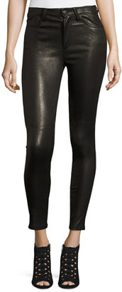Joe's Jeans The Charlie Leather Skinny Ankle Jeans, Black $695 thestylecure.com