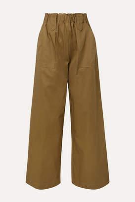 Matin MATIN - Cotton-twill Wide-leg Pants - Army green
