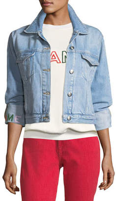 Frame Le Embroidery Light-Wash Denim Jacket