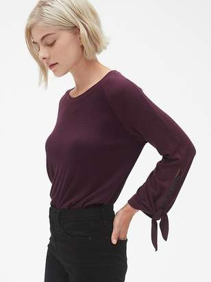 Gap Softspun Mix-Fabric Tie-Sleeve Top