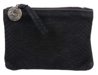 Clare Vivier Embossed Leather Zip Pouch