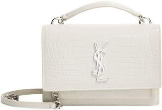 Saint Laurent Small Croc Leather Sunset Shoulder Bag