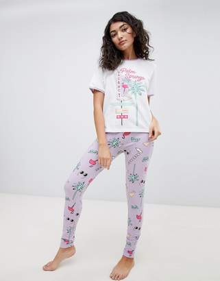 Asos DESIGN summer vacay vintage style tee and legging pyjama set
