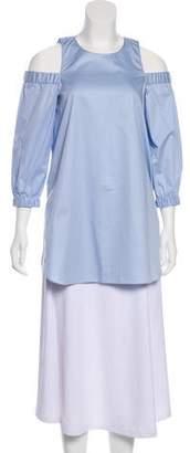 Tibi Long Sleeve Cold-Shoulder Top