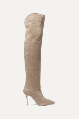 Aquazzura Lancaster 95 Suede Knee Boots - Light gray