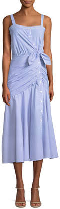 Veronica Beard Marena Ruched Button-Front Midi Dress