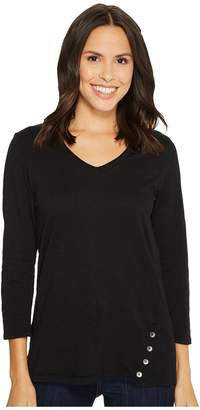 Mod-o-doc Heavier Slub Jersey 3/4 Sleeve Button Placket Tee Women's T Shirt