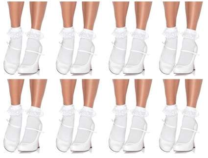 Women's Lace Ruffle Anklet Socks, White, One Size, 8-Pair