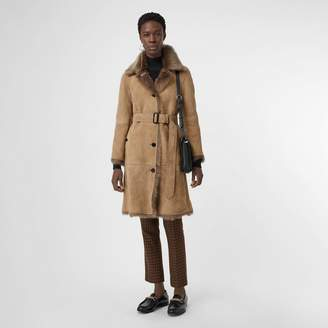Burberry Shearling Car Coat , Size: 08, Brown