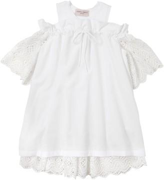 Alberta Ferretti Cotton Poplin & Macramé Lace Dress