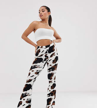 943d1f11f8 Asos DESIGN Petite flare trouser in cow print