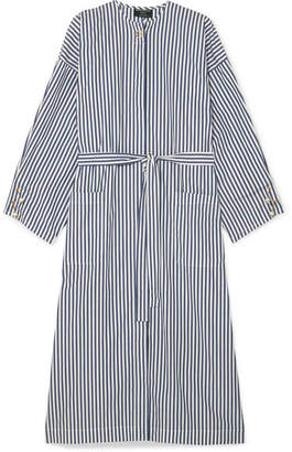 Mother of Pearl Faux Pearl-embellished Striped Organic Cotton-poplin Dress - Navy
